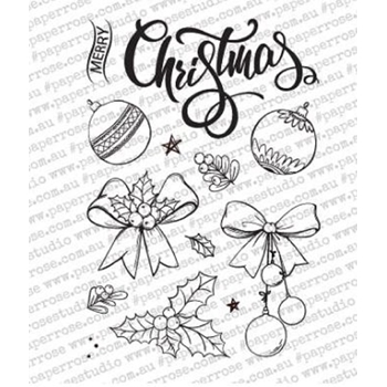 Paper Rose SKETCHY CHRISTMAS ORNAMENTS Clear Stamps 18342