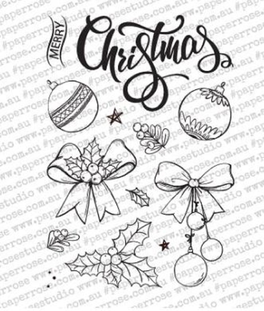 Paper Rose SKETCHY CHRISTMAS ORNAMENTS Clear Stamps 18342 zoom image