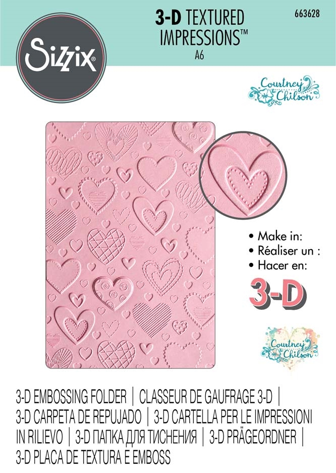 Sizzix Textured Impressions HEARTS 3D Embossing Folder 663628 zoom image