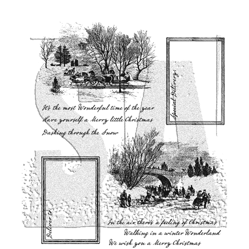 Tim Holtz Cling Rubber Stamps SCENIC HOLIDAY CMS391 Preview Image