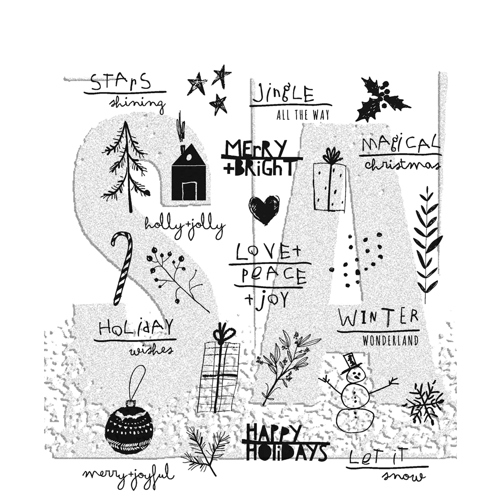 Tim Holtz Cling Rubber Stamps SEASONAL SCRIBBLE CMS386 zoom image
