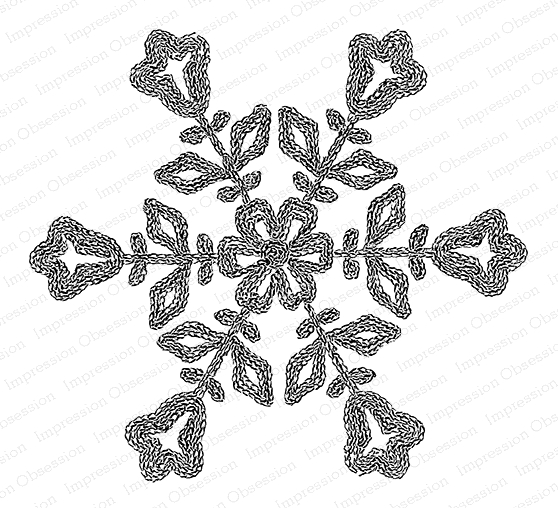 Impression Obsession Cling Stamp FLORAL SNOWFLAKE G20763 zoom image