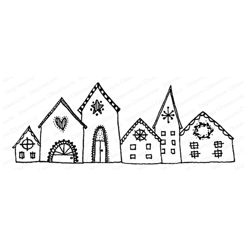 Impression Obsession Cling Stamp NORDIC TOWN E12103 Preview Image