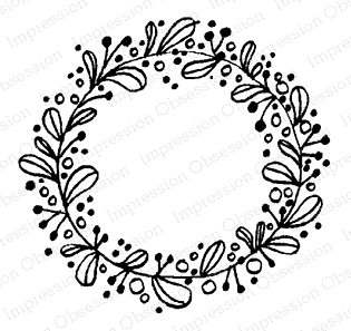 Impression Obsession Cling Stamp NORDIC WREATH D12102