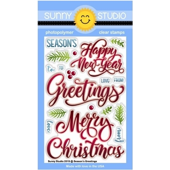 Sunny Studio SEASON'S GREETING Clear Stamps SSCL-243