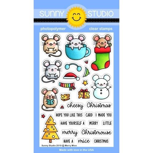 Sunny Studio MERRY MICE Clear Stamps SSCL-246* Preview Image