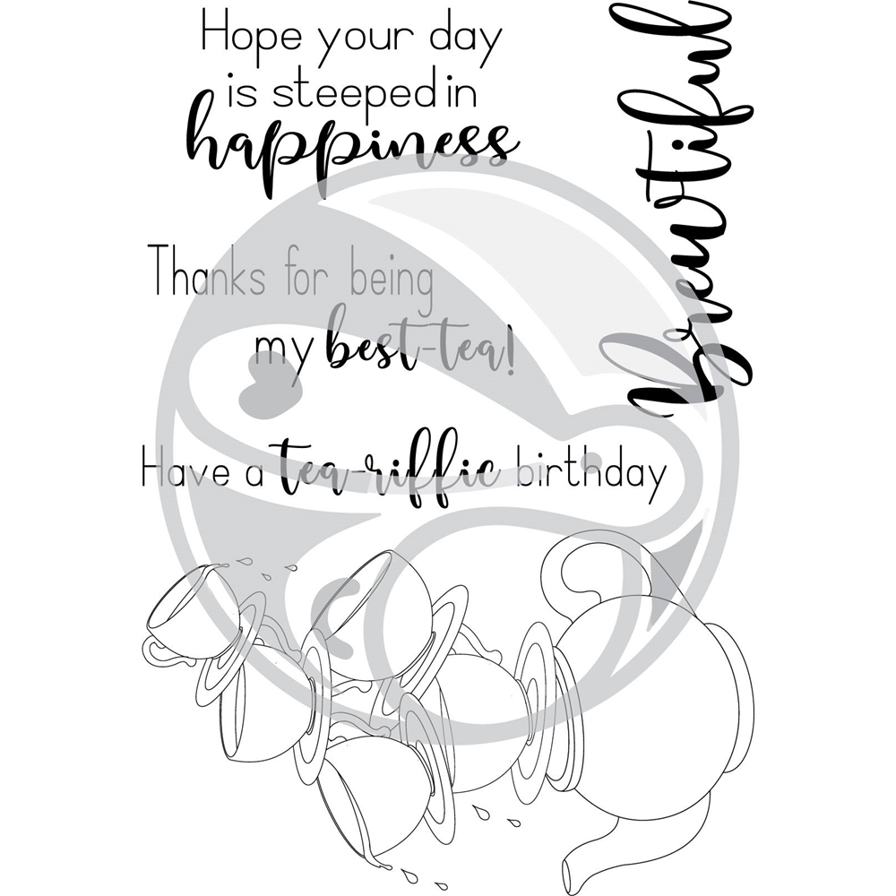 The Rabbit Hole Designs STEEPED IN HAPPINESS Clear Stamps TRH-33 zoom image