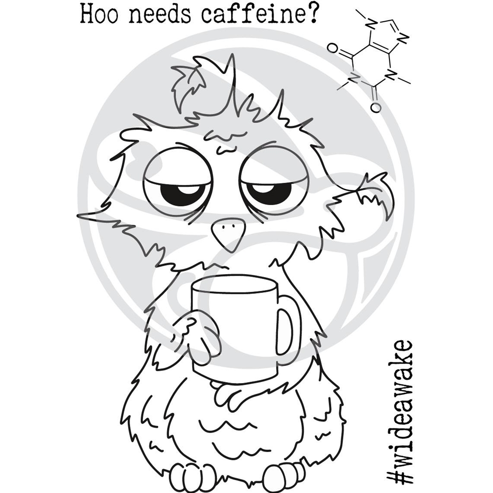The Rabbit Hole Designs CAFFEINATED OWL Clear Stamps TRH-37 zoom image