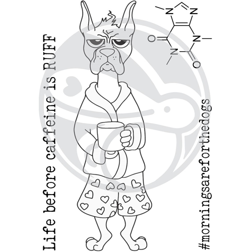 The Rabbit Hole Designs CAFFEINATED BOXER Clear Stamps TRH-36 Preview Image