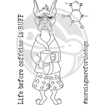 The Rabbit Hole Designs CAFFEINATED BOXER Clear Stamps TRH-36