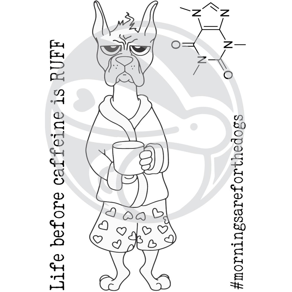 The Rabbit Hole Designs CAFFEINATED BOXER Clear Stamps TRH-36 zoom image