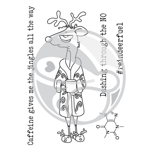 The Rabbit Hole Designs CAFFEINATED REINDEER Clear Stamps TRH-32 Preview Image