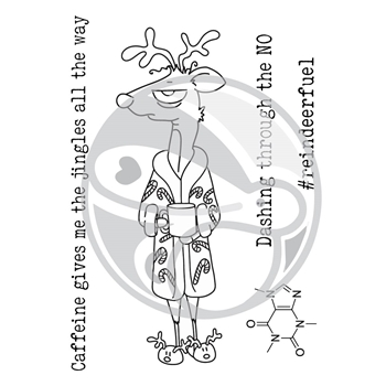The Rabbit Hole Designs CAFFEINATED REINDEER Clear Stamps TRH-32