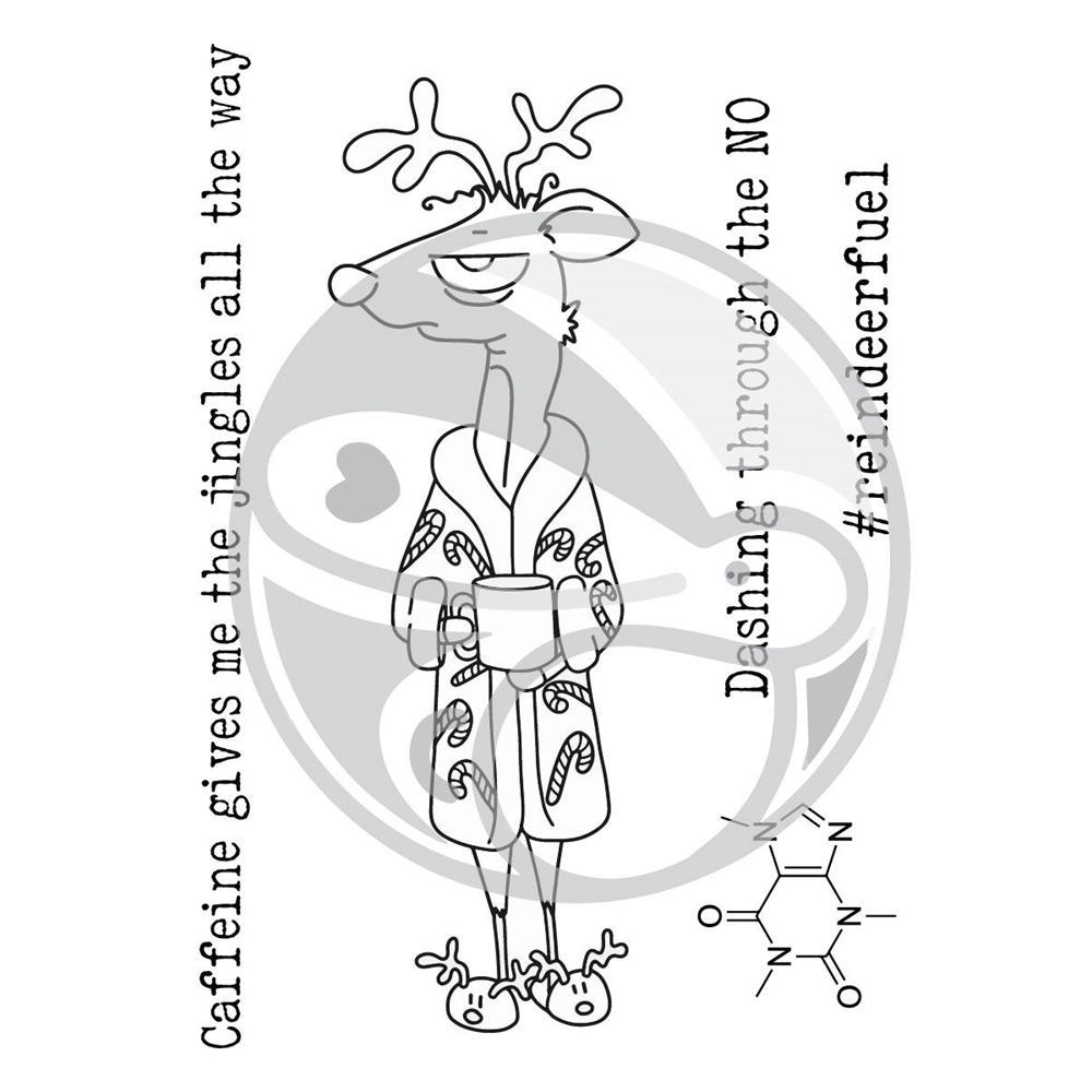 The Rabbit Hole Designs CAFFEINATED REINDEER Clear Stamps TRH-32 zoom image