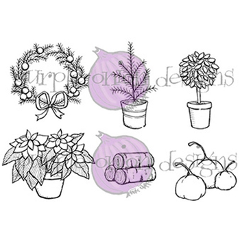 Purple Onion Designs DOOR DECOR 1 FALL AND WINTER Cling Stamp pod1089