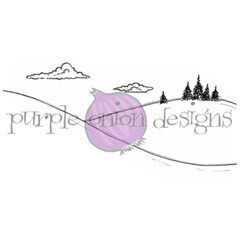 Purple Onion Designs SNOW DAY HILL Cling Stamp pod1139