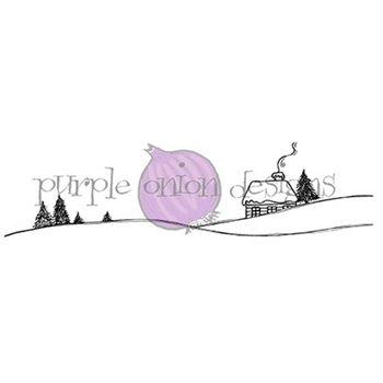 Purple Onion Designs SNOW CABIN ON HILL Cling Stamp pod1141