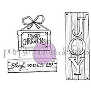 Purple Onion Designs WOOD WINTER AND HOLIDAY SIGNS Cling Stamp pod1145