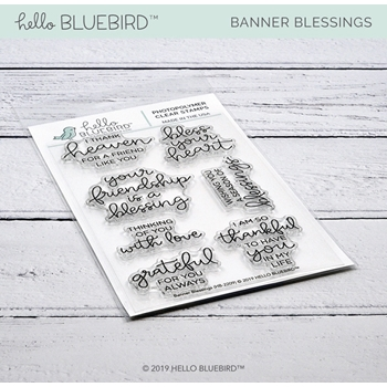 Hello Bluebird BANNER BLESSINGS Clear Stamps hb2209