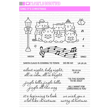 Clearly Besotted SING IT'S CHRISTMAS Clear Stamps
