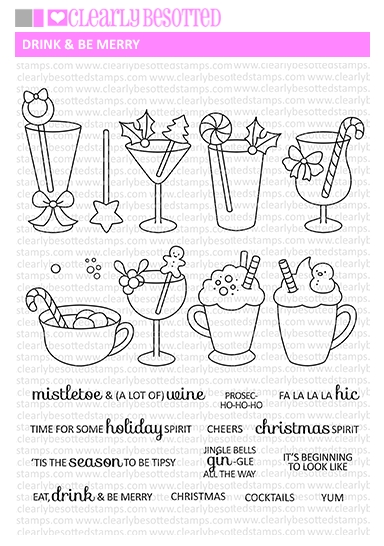 Clearly Besotted DRINK AND BE MERRY Clear Stamps zoom image