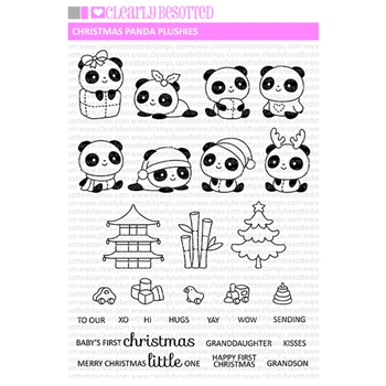 Clearly Besotted CHRISTMAS PANDA PLUSHIES Clear Stamps
