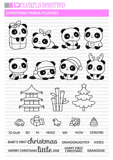 Clearly Besotted CHRISTMAS PANDA PLUSHIES Clear Stamps zoom image