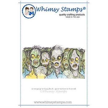 Whimsy Stamps ZOMBIE HERD Rubber Cling Stamp DDB0035