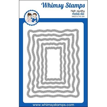 Whimsy Stamps WAVY PIERCED RECTANGLES Dies WSD430