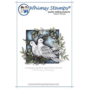 Whimsy Stamps CHRISTMAS DOVES Cling Stamp DA1126