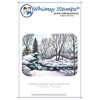 Whimsy Stamps PEACFUL STREAM Rubber Cling Stamp DA1127