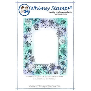 Whimsy Stamps SNOWFLAKE FRAME Rubber Cling Stamp DA1128