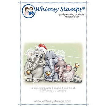 Whimsy Stamps ELLIE JUNGLE BELL ROCK Rubber Cling Stamp C1347