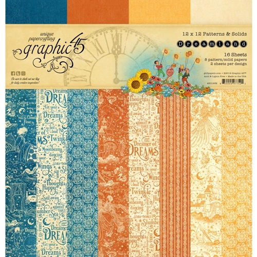 Graphic 45 DREAMLAND 12 x 12 Patterns And Solids Paper Pad 4501932 Preview Image