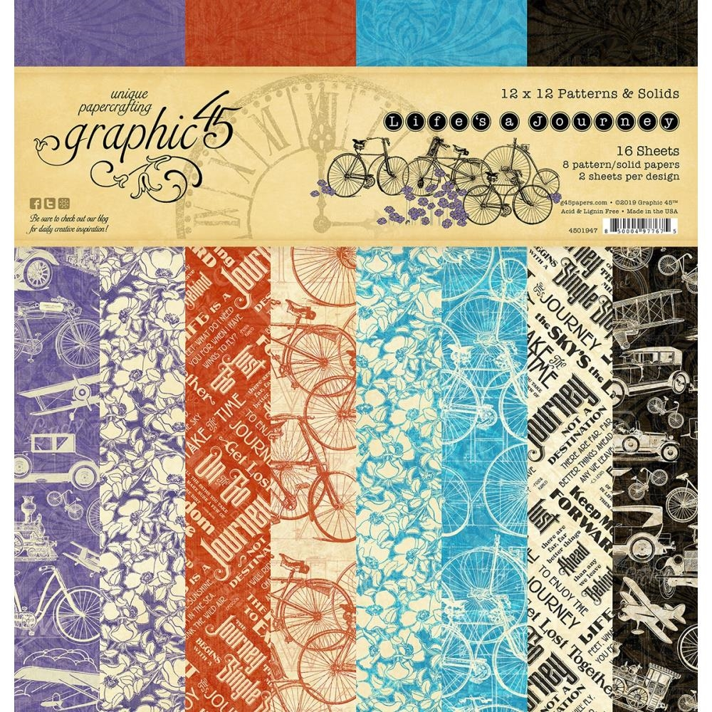 Graphic 45 LIFE'S A JOURNEY 12 x 12 Patterns And Solids Paper Pad 4501947 zoom image