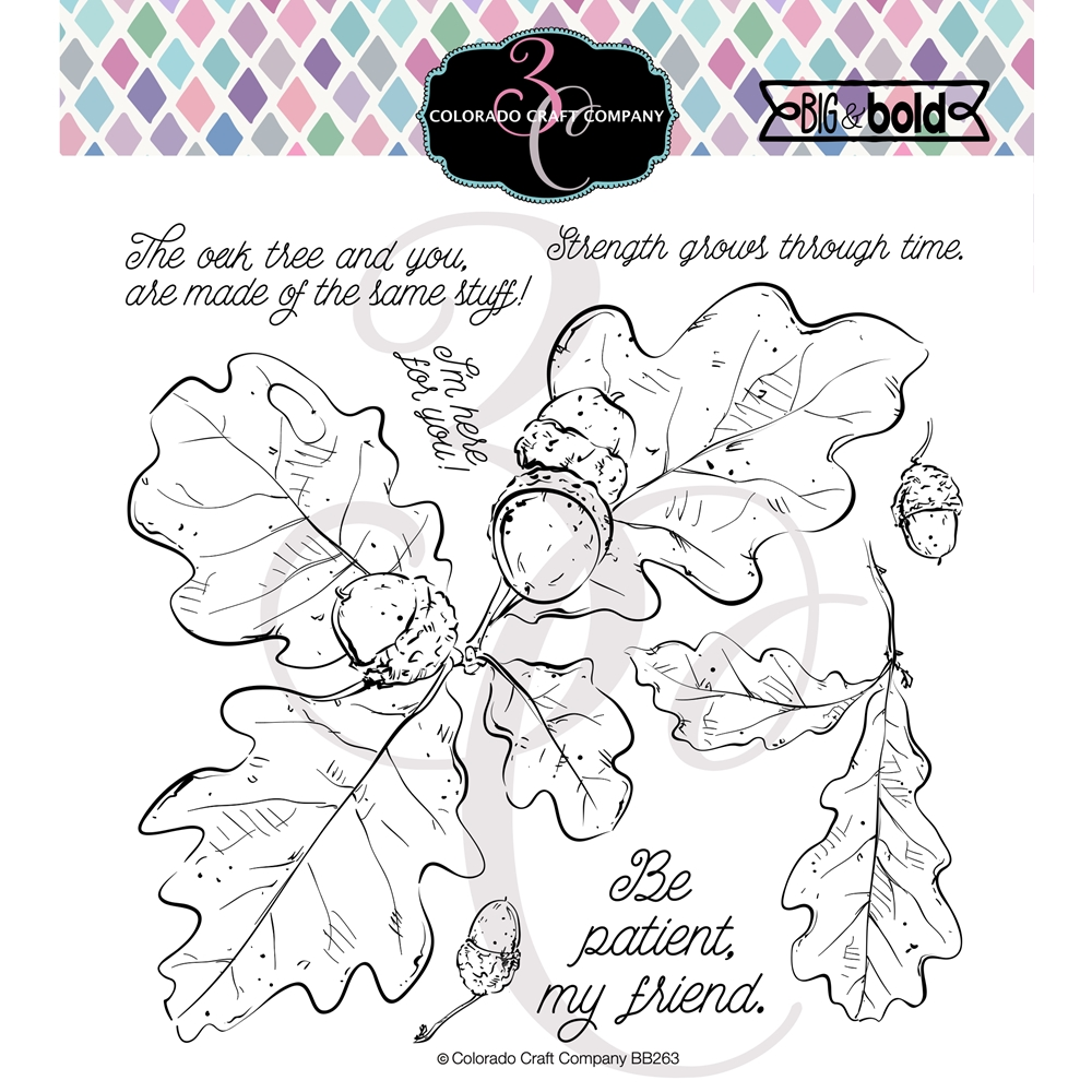 Colorado Craft Company Big and Bold OAK LEAVES AND ACORNS Clear Stamps BB263 zoom image
