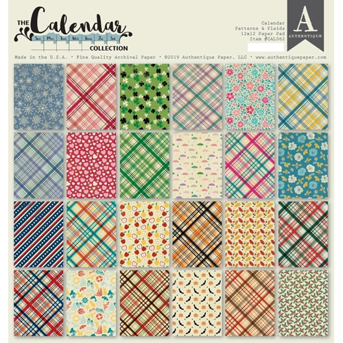 Authentique CALENDAR PATTERNS 12 x 12 Paper Pad cal062 Preview Image