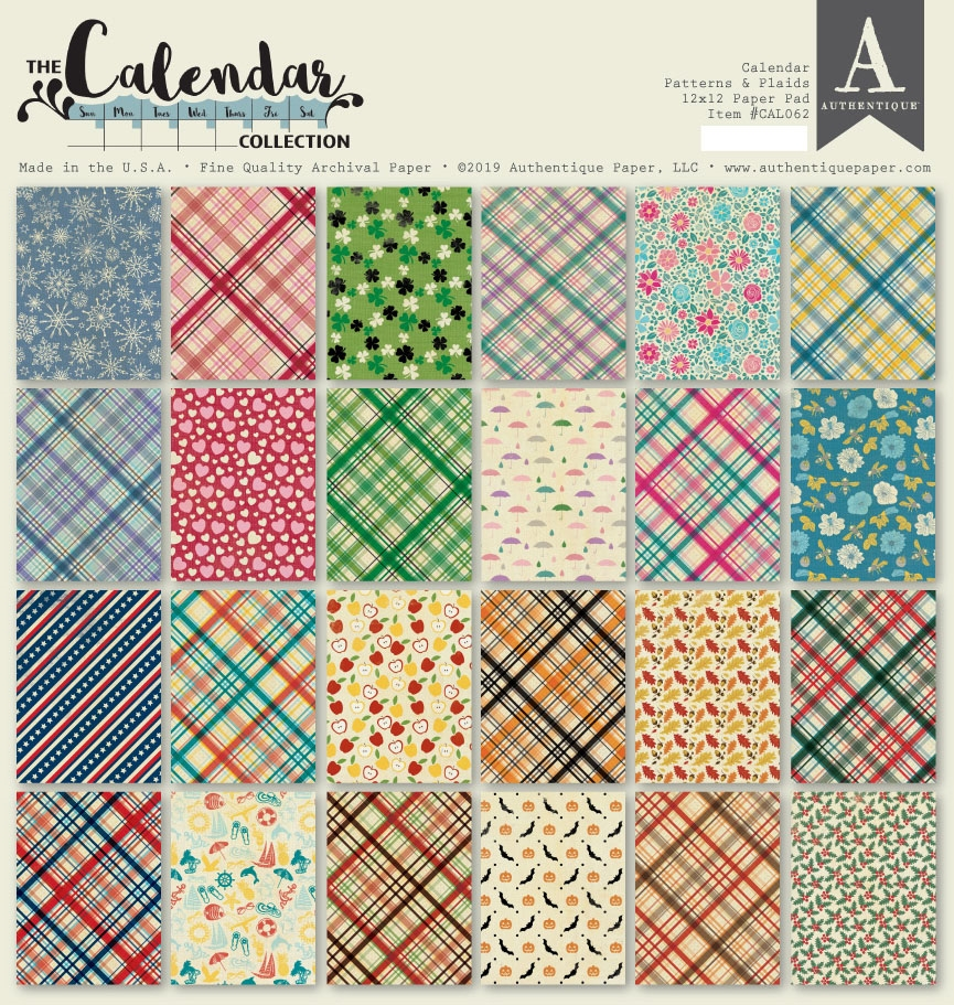 Authentique CALENDAR PATTERNS 12 x 12 Paper Pad cal062 zoom image