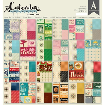 Authentique CALENDAR SENTIMENTS 12 x 12 Paper Pad cal063