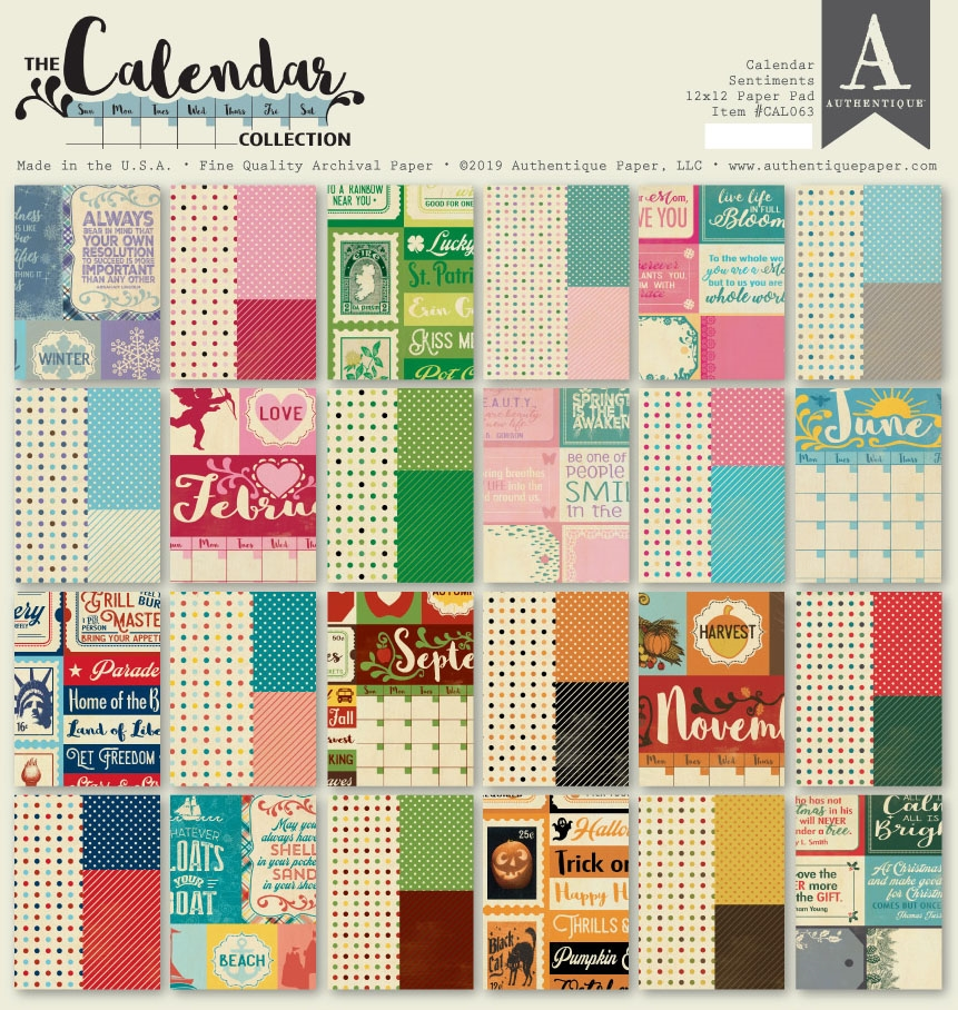 Authentique CALENDAR SENTIMENTS 12 x 12 Paper Pad cal063 zoom image