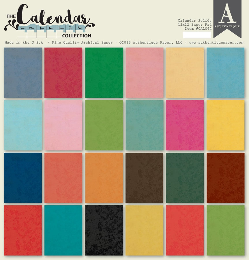 Authentique CALENDAR SOLIDS 12 x 12 Paper Pad cal064 zoom image