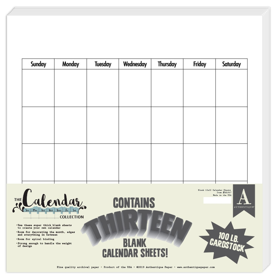 Authentique BLANK CALENDAR 12 x 12 Paper Pad cal067 zoom image