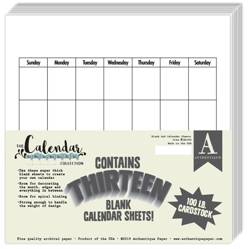 Authentique 8 x 8 BLANK CALENDAR Paper Pad cal068 Preview Image