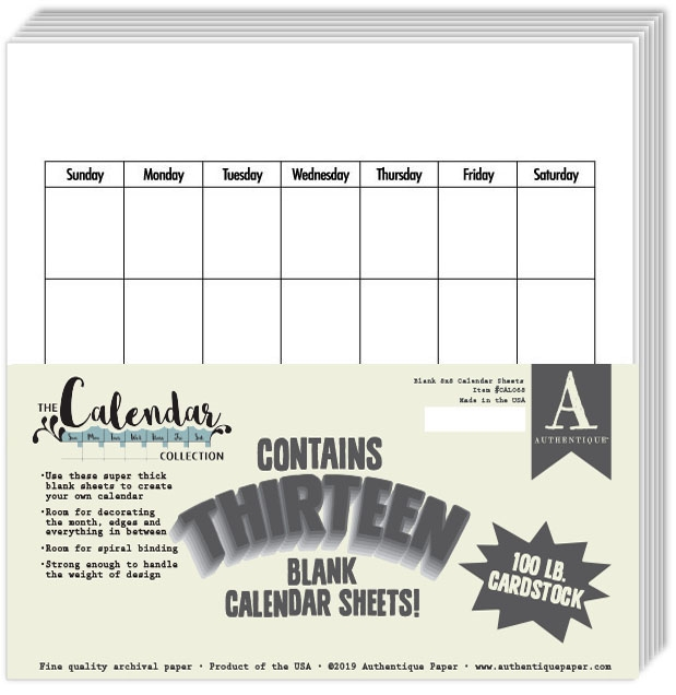 Authentique 8 x 8 BLANK CALENDAR Paper Pad cal068 zoom image