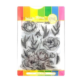 Waffle Flower PEONY BOUQUET Clear Stamp and Die Combo WFC274