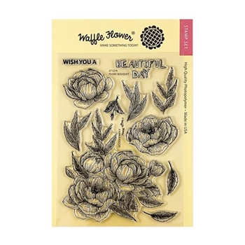 Waffle Flower PEONY BOUQUET Clear Stamps 271274