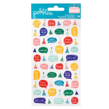 Pebbles Inc. PUFFY STICKERS Happy Cake Day 736787*
