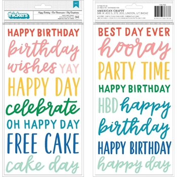 Pebbles Inc. HAPPY BIRTHDAY Matte Puffy Stickers Cake Day 736783*