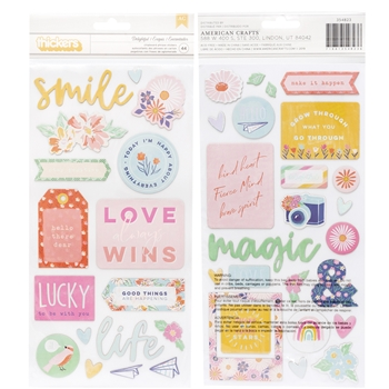 American Crafts Dear Lizzy DELIGHTFUL Chipboard Phrase Stickers She's Magic 354823