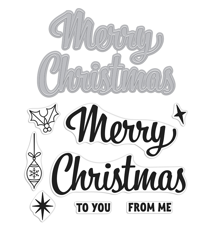 Hero Arts Stamp and Cuts MERRY CHRISTMAS SCRIPT Set DC270 zoom image
